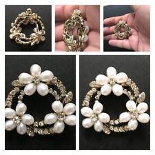 Stunning Diamonte Diamond Pearl ring garland Metallic Round  Hair Clip Pin Clips