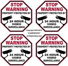 VIDEO SURVEILLANCE Lot of 4 Security Decal Window Home Bumper Sticker Signs