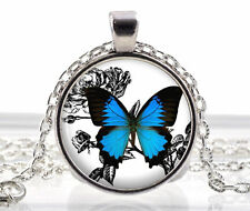 Blue Butterfly Necklace - Silver Picture Pendant - Jewelry Charm - Gifts for Her