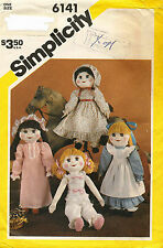 """1980's VTG Simplicity Doll and Wardrobe Pattern 6141 Size 21"""" tall"""