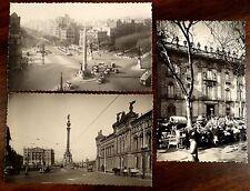 3 Photo Postcards BARCELONA SPAIN Street Scene Antique Cars Wagon Flower Vendor