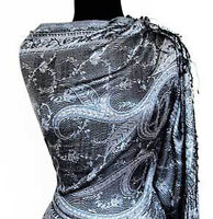 Iridescent Silk. Jamawar, India, Paisley Shawl. Black & White Jamavar Wrap