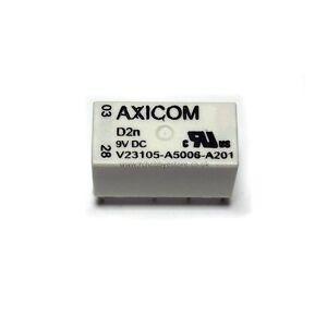 Relay DPDT 9V coil 1A Axicom D2n - Lot of 2 Relays V23105A