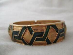 Lucerne Classy Women's Green & Gold Toned Cuff Band Wind-Up Wristwatch