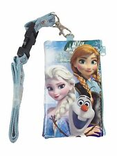 Disney Baby Blue Elsa Lanyard ID Ticket iPhone Key Chain Badge Holder Wallet