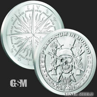 1 - 1 oz .999 Fine Silver Round - Pieces of Eight - Silver Shield - BU