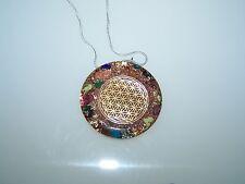 Orgonit Amulett Blume des Lebens Medallion viele Heilsteine Edelsteine Gold Cu