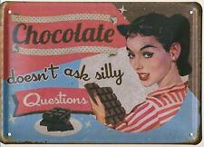 """Blechschild """"Chocolate""""  Schokolade Diner Bar Pub Küche Sixties 60er 15x21cm Neu"""