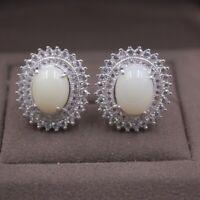 Pure 925 Sterling Silver Stud Earrings Natural Nephrite Jade Earrings 16mm W