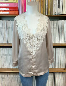 H&M Lace Top Blouse 38 UK 10 12 Trend Retro Satin 80s Boxy Taupe US 6 8