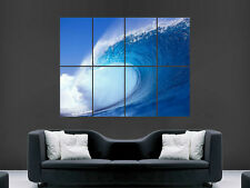 Blue Wave Sea surf art mural grande image Giant Poster!