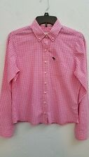 AMBERCROMBIE FITCH WOMENS SZ MEDIUM PINK CHECK 100% COTTON LONG SLEEVE BLOUSE