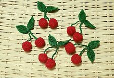 Lot of 5 pairs Adorable Crochet red Cherry Green Leaf for Clips Hat Headband DIY