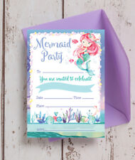 Pack of 10 Mermaid Themed Kids Teen Birthday Party Invitations & Envelopes