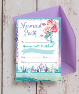 Pack of 10 Mermaid Themed Kids Teen Birthday Party Invitations & Envelopes