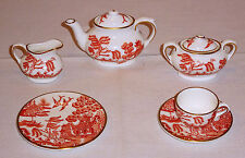 COALPORT RED WILLOW PATTERN MINI / MINIATURE 8 PIECE TEA SET NEW