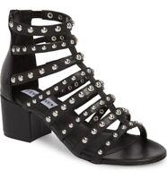 NWOB Steve Madden Mania Black Leather Silver Studded Gladiator Sandal Size 8.5