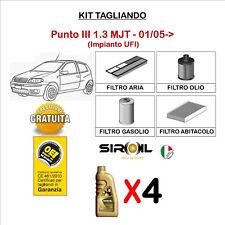 KIT TAGLIANDO OLIO 5W40 + 4 FILTRI FIAT Punto III 1.3 MJT - 01/05->