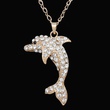 Fashion Women's Lovely Dolphin Crystal Rhinestone Pendant Chain Necklace Gifts Gold