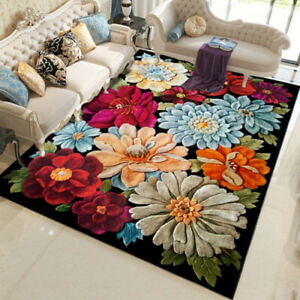 3D Flower Carpet Non Slip Area Rug Living Room Table Sofa Floor Carpet Washable