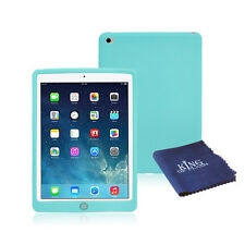 Silicone Rubber Shockproof Case For iPad Air 2 + Microfiber Cloth Light Green