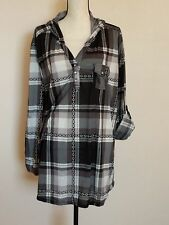 French Laundry plaid long shirt hood bling buttons Size 3X long sleeve Women's