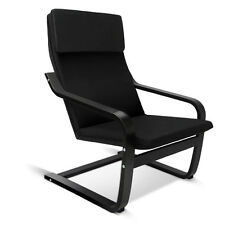Artiss Bentwood Arm Chair Wooden Sofa Lounge Cotton Fabric Cushion Padded Black