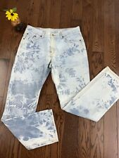 """Levi's 505 Jeans acid washed distressed juniors 11 Women's 30"""" high rise Mom"""