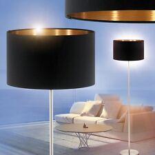 Stehlampe Lese Leuchte Stand Boden Lampe Schlaf Wohn Zimmer Stoff schwarz/gold