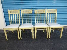 RARE Set 4 Chairs Faux Bamboo Cane Hollywood Regency Dining Mid-century Modern