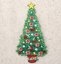 Iron On Embroidered Applique Patch Christmas Tree Yellow Star Peppermints