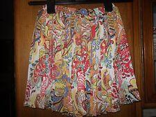 NWT LF Stores Millau Paisley mult-color Mini Skirt Size XS Elastic waist lined.