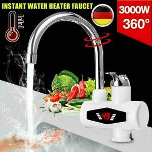 360° Elektrisch LED Wasserhahn Sofort Heizung Durchlauferhitzer Armatur Spültis.