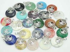 Natural Gemstone Reiki Chakra Round Tree of Life Healing Pendant Charm Beads