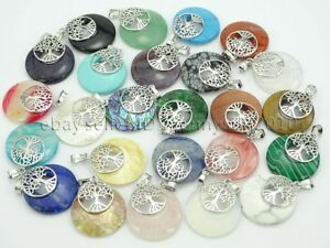 Natural Gemstone Reiki Chakra Round Tree of Life Pendant Charms Silver Plated