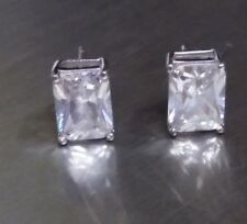 Sterling Silver Pierced Earrings with Large Cubic Zirconia (#E-29)