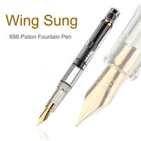 ❤ 2019 Model Wing Sung 698 Transparent Piston Fountain Pen Soft Nib Fathers Day