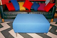 blue ottoman table stool chunky stylish contemporary rectangle, metal legs