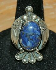 VINTAGE 925 Sterling Silver BLUE Cabochon Lapis Lazuli RING MEXICO BIRD DOVE 6.5