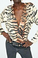 Zara Animal Print Crossover V-neckline Flowing Bodysuit Size S UK 8-10