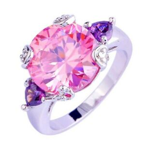 Romantic Pink Topaz 925 Silver Ring Round Cut - Choose Size