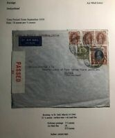 1940 Bombay India Airmail Censored Commercial Cover To St Gallen Switzerland