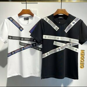 DSQUARED2 Tape Design T Shirt Black & White Exclusive offer FREE FAST DELIVERY!!