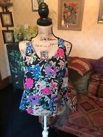 ATMOSPHERE Ladies Black Floral Sleeveless Flared Top Blouse UK Size 12