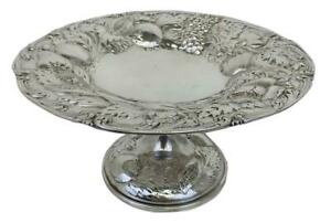 Art Nouveau Repousse Sterling Silver Fruit Footed Bowl Dish Tazza - Unger Bros?