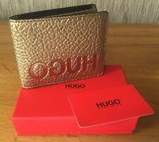 HUGO HUGO BOSS Oro Grano Cuero con el logotipo inversa Cartera Plegable Nuevo Y En Caja