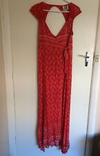 New JAASE Sz S Red Keyhole Boho Wrap Maxi Dress, Bandana Print, NEW WITH TAGS