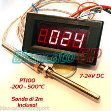 TERMOMETRO -200°C +500°C SONDA PT100 2m 7-24V DC termoresistenza RTD sensore kfz