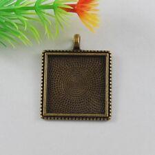 20 pcs Antiqued Bronze Alloy Square Shaped Pendants Trays 25mm Cameo Base 51666