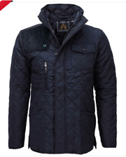 Soul Star Mens New Padded Diamond Quilted Coat Cord Patch Jacket Navy Size XL